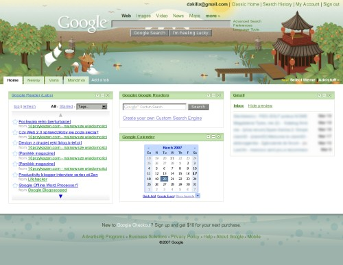 Google Personal Homepage Themes